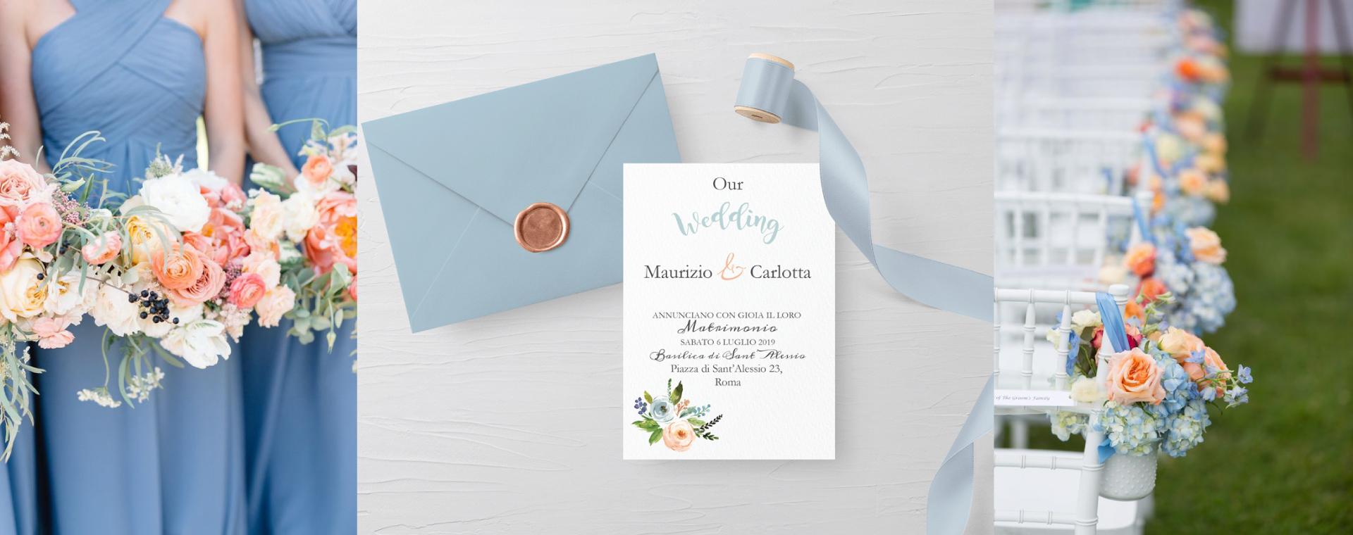 Partecipazioni nozze dusty blue