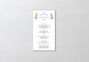 menu di nozze colore dusty blue