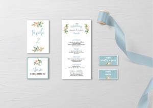 Partecipazioni nozze floreali colore dusty blue