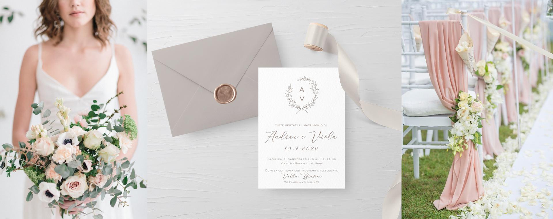 invito di nozze elegante avorio