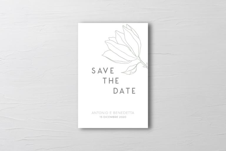 biglietto save the date matrimonio con fiore verde salvia