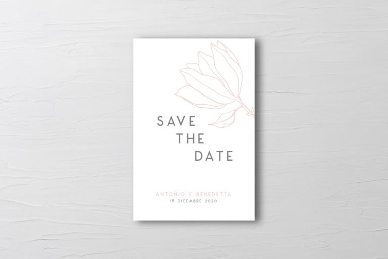 save the date matrimonio moderno con fiore pesca